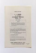 Original 1958 JC Higgins 66 12 ga Auto Shotgun Parts List & Schematic | 583.602