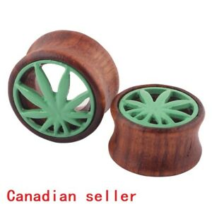 Pair Wood Marijuana Leaf Flesh Tunnels weed leaf design Plug Stretcher ear Gauge