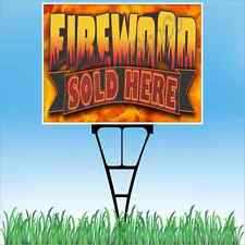 "18""x24"" FIREWOOD SOLD HERE Outdoor Yard Sign & Stake Sidewalk Lawn Sales Wood"