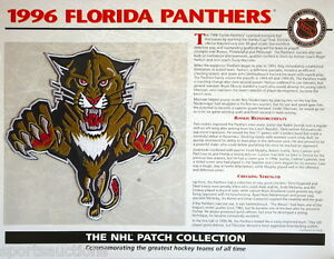 1996 FLORIDA PANTHERS Willabee & Ward NHL THROWBACK HOCKEY TEAM PATCH Stat Card