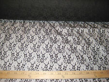 """BLACK FLORAL NYLON LACE/NET FABRIC 60"""" WIDE BY THE YARD"""