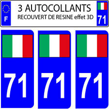 3 adesivi targa auto EFFETTO DOMING 3D RESINA BANDIERA ITALIA N° 71