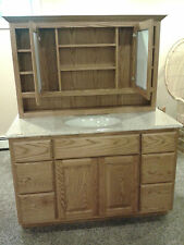 "AMISH MADE NEW BATHROOM OAK MEDICINE CABINET WITH 48"" OAK VANITY AMERICAN MADE"