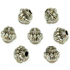 MB7319 Antiqued Silver 7mm Line & Dot Embellished Bicone Metal Beads 25pc