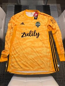 New Adidas ClimaLite Seattle Sounders Long Sleeve Jersey Yellow Large L RARE
