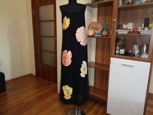SALVATORE FERRAGAMO AMAZING BLACK LAYERED BIG FLOWERS PRINT MAXI DRESS-L?