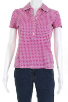 Tory Burch Women's Polo Shirt Cotton Pink White Size Small