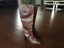 ALDO Brown Mid Calf Leather  Stitch High Heel Side Zip Boot - Size 39