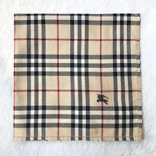 "BurberryScarf Cotton Handkerchief Beige Novacheck NeckScarf Embroider Square 18"""