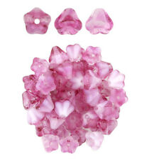 50 Pink & Crystal Hurricane Baby Bell Flower Glass Beads 6MM