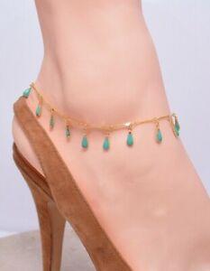 Dangling Turquoise Tear Drops 14Kt Gold Plated ANKLET ANKLE BRACELET 9 -12.5