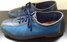 Vintage J Walkers Blue Soft Leather Hand Made Painted Oxford Shoes Hipster UK 5