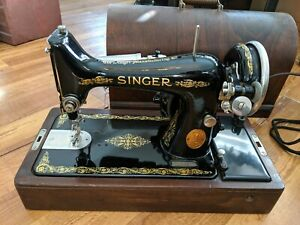 Gorgeous Electric Singer Sewing Machine Model 99 1927 Bentwood Case SN  AB549558