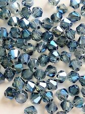 100pcs 4mm Grey Blue AB Electroplate Faceted bicone crystal glass Spacer beads