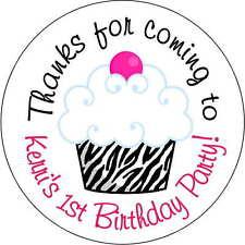 12 Zebra Cupcake Girls stickers Birthday Party 2.5 Inch Personalized