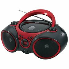 Jensen CD-490 Sport Stereo CD Player with AM/FM Radio & Aux Line-In, Red & Black
