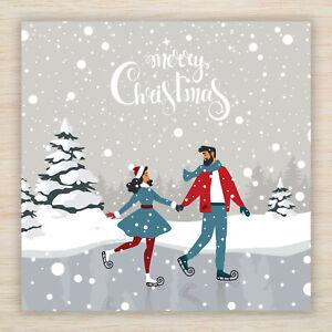 Christmas Blank Cards & Packs -  Ice Skating design - Same day dispatch FREEPOST