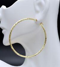 2'' 10k Solid Yellow Gold big Large hoop Diamond Cut Earrings 50mm x2MM 2.5GR