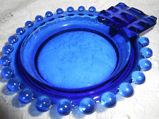 Blue Vaseline glass candlewick pattern Cigarette holder ashtray uranium tobacco