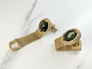 Lovely Vintage Gold-tone Green Cabochons  mesh straps cuff links by Swank