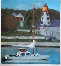 "VINTAGE MARINA SAILBOAT LIGHTHOUSE OIL PAINTING ON CANVAS 24"" x 22"""