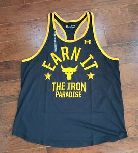 Under Armour Project Rock Mens XL EARN IT THE IRON PARADISE Tank Top Black