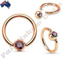 316L Surgical Steel Rose Gold Captive Bead Ring with Purple Gem Set Ball