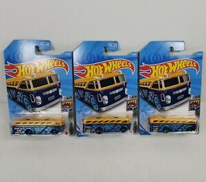 Lot of 3 Hot Wheels Surfin' School Bus 2021 HW Metro Case C