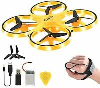 Mini Drone Quad Induction Levitation Hand Operated Helicopter For Kids yellow