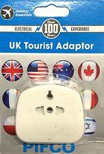 UK Tourist Travel EU US to 3 Pin charger power plug holiday adaptor 110/230v AC