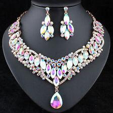 Bright AB White Austrian Rhinestones Crystal Bib Necklace Earrings Set N929ab