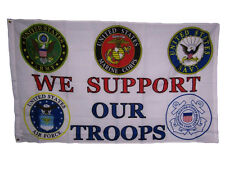 3x5 We Support Our Troops 5 Branch U.S. Military 150D Polyester Flag 3x5 (Ee)
