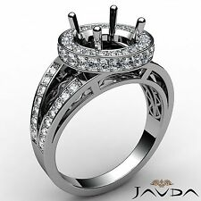Round Semi Mount 0.76Ct Diamond Engagement Halo Pave Ring Platinum Split Shank