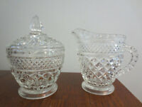 NICE VINTAGE CLEAR GLASS DIAMOND DESIGN CREAMER AND SUGAR