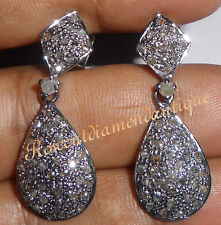 NEW LATEST 1.10ct ANTIQUE ROSE CUT DIAMOND SILVER AWESOME DANGLE DESIGN EARRINGS