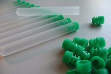 50 Count 13 x 100 mm Plastic Test Tubes Frosted/Clear With Green Caps, New