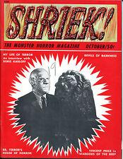Shriek! The Monster Horror Magazine #2-1965-Karloff, Vincent Price, Cushing/Lee