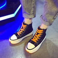 Women's Casual Fashion Canvas Denim High Top Zipper Lace Up Sneakers Board Shoes