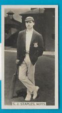 WILLS 1929 CRICKET SEASON S.J.STAPLES (Notts) CIGARETTE CARD