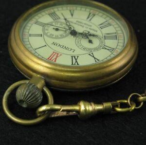 Pure Copper Antique Open Face Mechanical Hand-winding 5 Hands Pocket Watch Chain