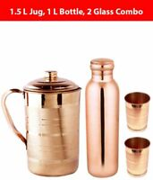 Brown 1000 ml Copper Water Bottle, 1500 ml Jug and 2 Glass Combo KU
