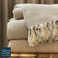 100% Cotton Natural Beige Herringbone Large Sofa Bed Throw Blanket Fringed Tweed