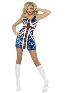 Ginger Spice Union Jack Sequin Dress Womens Costume Spice Girls Sexy UK Flag