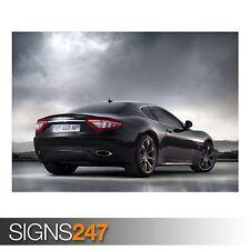 "Black Maserati Gran Turismo S Sport CAR010 Framed Canvas Print A2-16/"" x 24/"""