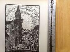 1920s Woodcut Print Piazza at Trau by Dr Emma Bormann