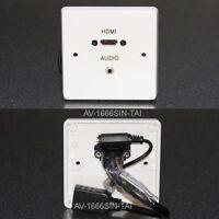 Av Face Mural Plaque, HDMI / 3.5mm Stéréo Audio Prises Jack avec Tail-Leads