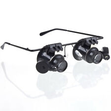 20x Magnifier Double Eye Watch Jewelry Repair Loupe Glass w/LED Light