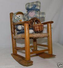 "Vintage Rocking Chair with a Bear & Doll Wicker / Rattan Seat 8"" h"