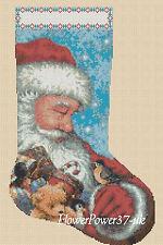 Cross stitch chart christmas stocking Santa Claus No 2 Flowerpower 37-uk...