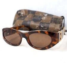 FENDI sunglasses FS 290 vintage oval brown tortoise gold large FF zucca 1990's